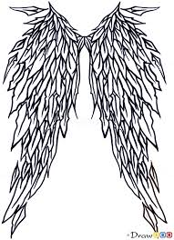 how to draw angel wings tribal tattoos