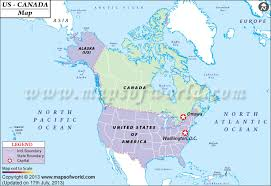 map of us and canada canada and usa map travelquaz