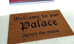 funny welcome to our palace ignore the mess funny handpainted custom doormat by
