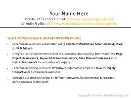 Sample Resume For Qtp Automation Testing by Real World Selenium Resume Which Gets More Job Interviews