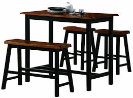 Narrow Outdoor Bar Table Narrow Bar Height Dining Table Set With Benches Decofurnish