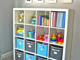Toy Storage Bookcase Unit Kids Room Ikea Expedit Bookcase Filled With Books And Toys