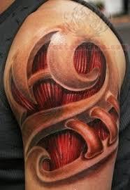 tattoo 3d mechanical bio mechanical 3d tattoo on shoulder