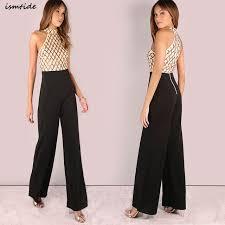 sequined jumpsuit 2017 shoulder sleeveless halter backless sequin jumpsuit