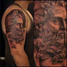 zeus tattoo realism realistic blackwork black and grey tattooing