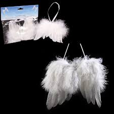 white feather wing tree hanging ornaments for