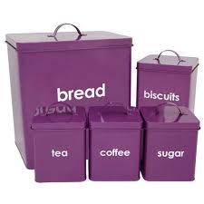 purple canister set kitchen 5pc tea coffee sugar biscuit bread bin canister set kitchen