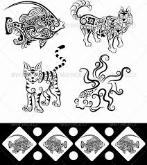 animal ornaments fish goldfish wolf cat by comicvector703