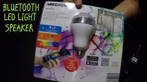 led light bulb speaker medion bluetooth speaker and color changing led light unboxing and