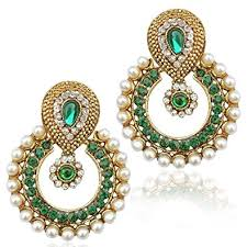 green earrings buy pearl with green traditional ethnic indian earring b332g
