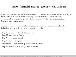 Senior Financial Analyst Resume Sample by Senior Financial Analyst Recommendation Letter