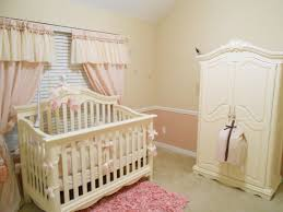Childrens Nursery Curtains by White Wall Themes And Pink Curtains With White Wooden Cradle And
