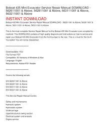 calaméo bobcat 435 mini excavator service repair manual download