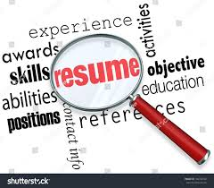 the word resume magnifying glass word resume surrounded stock illustration