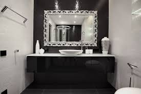 stylish white bathroom design with beveled mirror frame and most