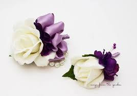purple corsage real touch boutonniere corsage wedding prom white lavender