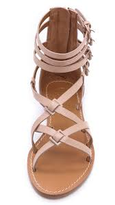tory burch lucas flat sandals in pink lyst
