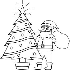 santa claus and christmas tree coloring page coloring page