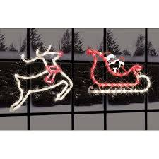 impact innovations christmas lighted window decoration impact innovations 2 piece lighted santa sleigh and reindeer