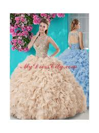fifteen dresses see through beaded scoop best quinceanera dresses in chagne