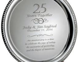 25th anniversary plates personalized ornament silver 25th anniversary personalized plate on wood base