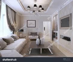 living room neoclassical style 3d render stock illustration