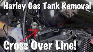 harley davidson gas fuel tank with cross over line how to remove