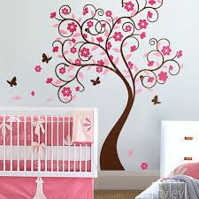 Tree Nursery Wall Decal Curly Flower Tree With Butterflies Nursery Vinyl Wall Decal