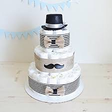 amazon com 3 tier gentleman mustache diaper cake for baby boy