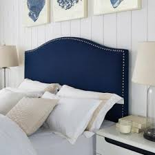 Queen Headboard Upholstered by Modern Arch Upholstered Padded Navy Blue Linen Fabric Queen
