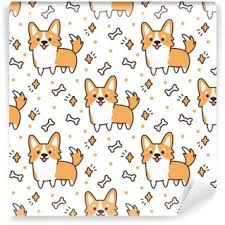 corgi wrapping paper pattern with dog breed corgi on a white background with