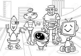 black white cartoon illustration funny robots droids
