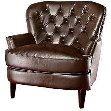 amazon com medford brown leather club chair kitchen u0026 dining