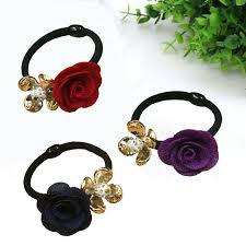 hair holders 5pcs lot gold plated fabric flower hair holders