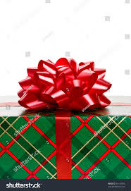 close christmas gift wrapped green red stock photo 61124830
