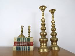 Fireplace Candle Holders by Pair Of Tall Brass Candlesticks Vintage Decorative Mantle