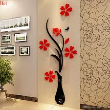 wholesale wall stickers acrylic 3d plum flower vase stickers vinyl wholesale wall stickers acrylic 3d plum flower vase stickers vinyl art diy home decor wall decal red floral wall sticker colors ysb000031 room wall stickers