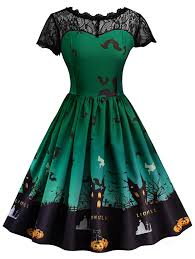 vintage dresses green m vintage lace insert halloween pin up