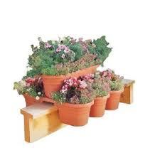 bloem 21 in 4 piece terra cotta plastic milano rail modular