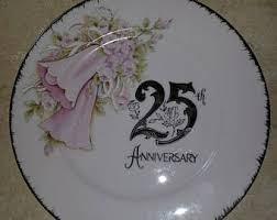 25th wedding anniversary plate vintage 25th anniversary gift etsy