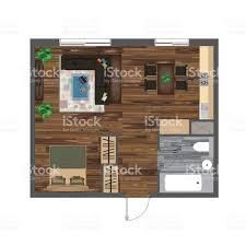Studio Apartment Floor Plans Architectural Floor Plan With Dimensions Studio Apartment Vector