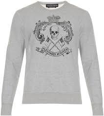 alexander mcqueen crown skull print cotton jersey sweatshirt
