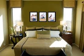 stylish bedroom decor for couples in warm green for limited space