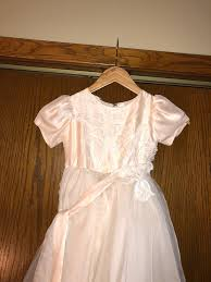 dusty pink and ivory 8 layered lace appliquéd flower dress