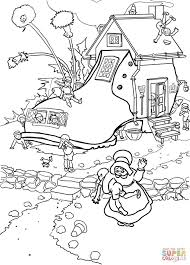 little old woman who lived in a shoe coloring page free