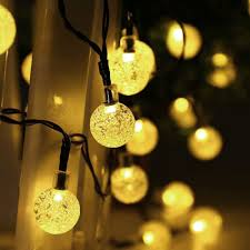 Outdoor Solar Christmas Lights - solar string lights 30 led crystal ball string lights warm white