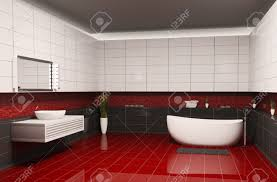 bathroom with black white walls and red floor interior 3d stock