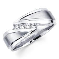 mens white gold wedding rings white gold princess diamond men s wedding ring