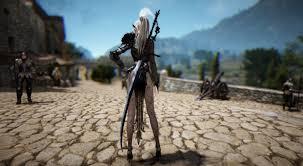 wallpaper hd black desert online legs white hair hands on hips ponytail black desert black