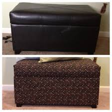 Reupholster Leather Ottoman Reupholstered Leather Storage Ottoman Repurposing Pinterest